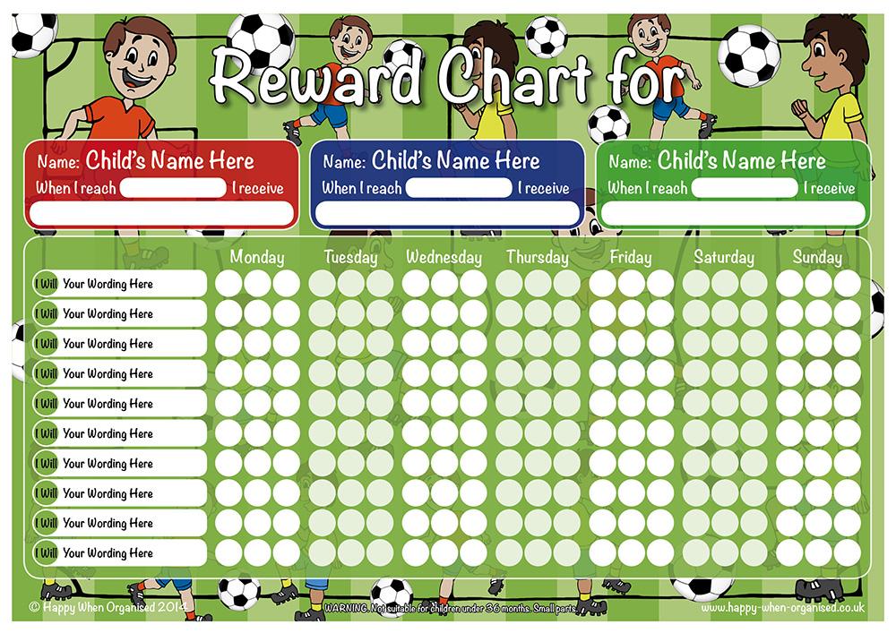 football theme child boys reward chart